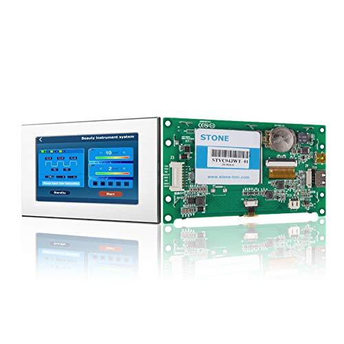 Pantalla Módulo HMI TFT LCD de 4,3 pulgadas con controlador táctil del programa de interfaz serie UART y marco de metal