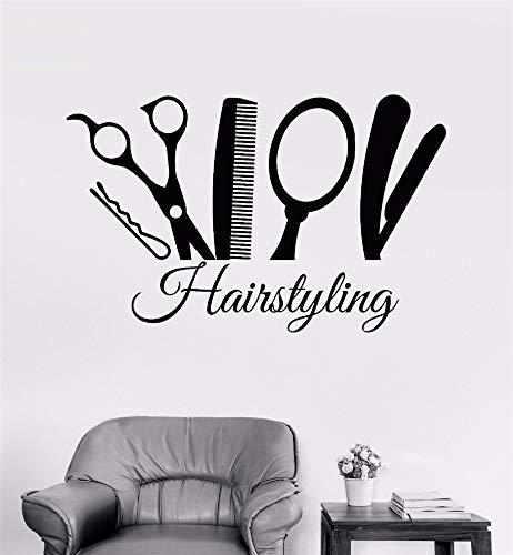 stickers muraux stickers muraux chambre Peigne ciseaux miroir coiffure salon de coiffure outil de coiffeur intérieur chambre art décoration autocollants pour salon de coiffure
