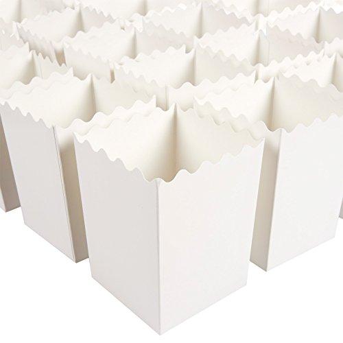 Blue Panda Popcorn-Boxen (Set, 100 Stück) – Mit Gewellten Kanten - Behälter für besondere Anlässe, Filmabende, Geburtstage – Weiß, für je ca. 453 g, 7,6 x 10,2 x 7,6 cm - AUSVERKAUF