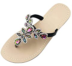 Hinyyrin Available in 10 Colors,Rhinestone Sandals,Women's Flat Sandals,Flip Flop,Jeweled Sandals