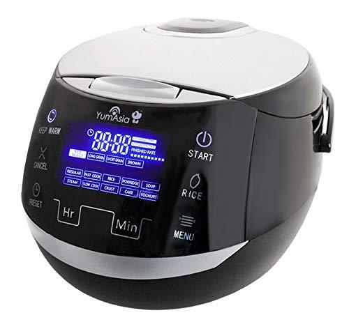 Yum Asia Sakura Reiskocher mit Keramikschale und Advanced Fuzzy Logic (8 Tassen, 1,5 Liter), 6 Reiskochfunktionen, 6 Multikocherfunktionen, Motouch LED-Display, 220-240V UK/EU (schwarz und silber)