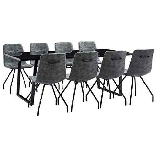 Goliraya Juego de Mesa de Comedor y Sillas Conjunto de Mesa y 8 Sillas de Comedor para Cocina de Sala de Estar Cuero Sintético Negro