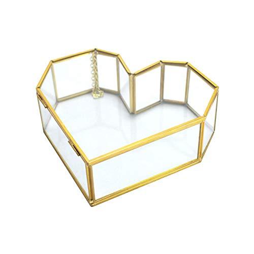 YZJL Joyero organizador de joyas, caja de cristal en forma de corazón, transparente, estilo europeo, caja de almacenamiento para anillos, collares, pendientes, joyero