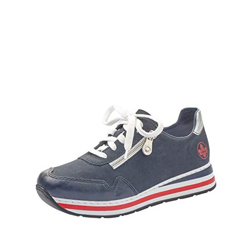 Rieker Damen Low-Top Sneaker L2321, Frauen Halbschuhe,lose Einlage,Plateausohle,Lady,Ladies,Women's,Woman,schnürschuhe,blau (15),39 EU / 6 EU