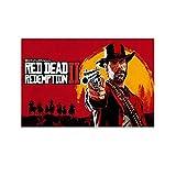 ASDFWQW Fondo de Pantalla De Red Dead Redemption 2 Póster Pintura Decorativa Lienzo Arte Pared Sala de Estar Póster Dormitorio Pinturas 60x90 cm