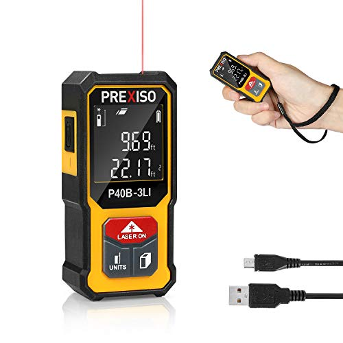 PREXISO Mini Laser Measure, 135Ft Rechargeable Laser Distance Meter with High Accuracy Multi-Measurement Units M/in/Ft, and Pythagorean, Distance, Area, Volume Modes
