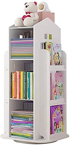 Boekenplank 3-Tier Draaien 360 ° Boekenplank Kinderen Boekenkast, Vloer Staande Opslag Rack Plank Voor Thuiskantoor Witte Boekenplanken Organizer Voor Boeken
