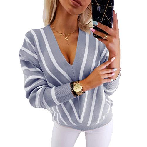Herbst Und Winter Frauen Loose Bottoming Shirt Gestreifter Pullover Mit V-Ausschnitt Frauen