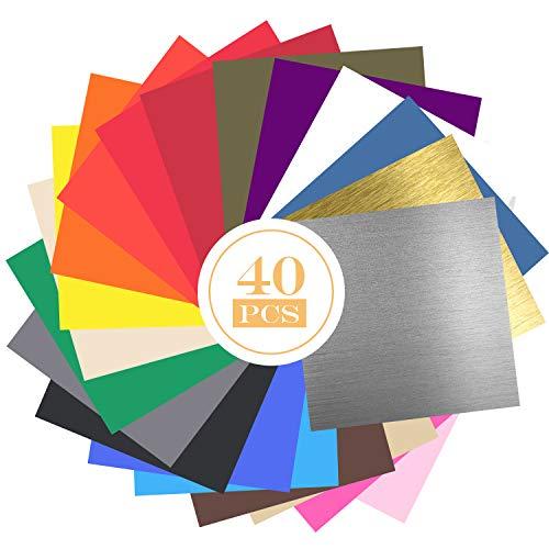 GLCS GLAUCUS 40 Hojas de Vinilo con Reverso Autoadhesivas 12 x 12 , 35 Colores Láminas de Vinilo Impermeable para Artes y Oficios Compatible con Máquinas de Corte de Impresión Cricut Silhouette