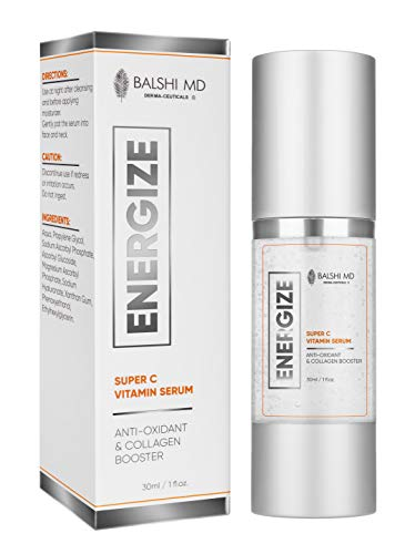ENERGIZE Vitamin C Hyaluronic Acid Serum for Face & Eyes – Collagen Booster Triple Complex Anti Aging, Brightening, Dark Spot Corrector for Brighter, Smoother Skin 30ml/1oz