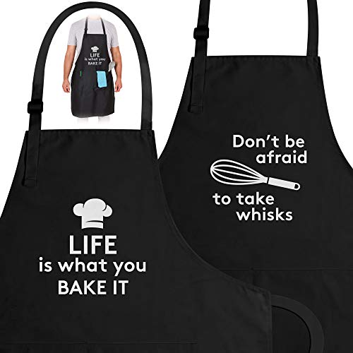 Zulay (2-Pack) Funny Aprons For Women, Men & Couples - Adjustable Universal Fit Cooking Apron - Black Apron With Pockets For BBQ, Baking, Painting, Wedding Gift & More - (Husband & Wife)