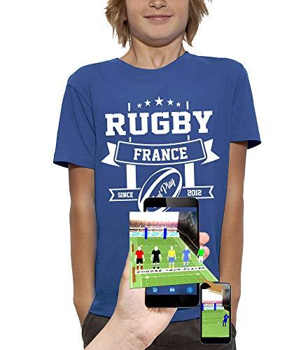 PIXEL EVOLUTION T-Shirt 3D Rugby France en Réalité Augmentée Enfant - Taille 9/11 Ans - Bleu Royal