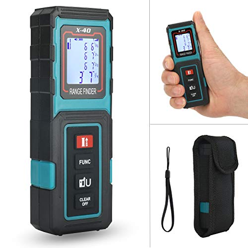 Laser Measure MAKINGTEC 131Ft M/In/Ft Mini Laser Distance Measure, Pythagorean Mode,LCD Backlight Display, Laser Measuring Tape, Volume,Area Measurement Digital Laser Tape Measure X40