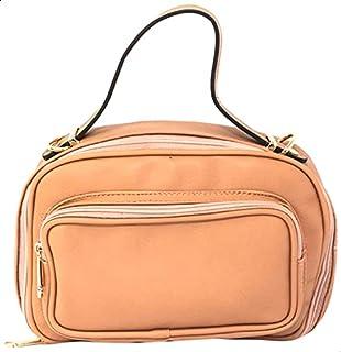 شنطة جلد صناعي بيد علوية وسوستة مع حزام قابل للفصل للنساء من جليتر - سلمون