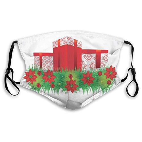 Winddichte Maske, Strümpfe hängen für Santa Mistel Illustration Frohe Weihnachten für alle bedruckten Gesichtsdekorationen für Erwachsene Kinder