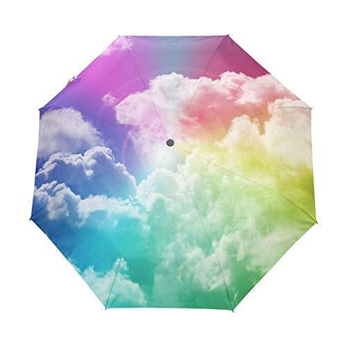BOC Umbrella Creative Fashion Drei faltbare Männer Umbrella Sky Kazbrella Winddichte Sonne Regen Weiblicher Regenschirm Akzeptieren Custom Design Russische Föderation Weiß