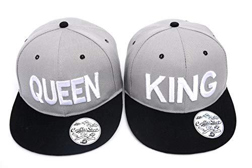 Tom's Couples Shop Partner Cap King Queen Snapback Set Liebhaber Paare Kappe Basecap Mütze für für Pärchen 3D Bestickte Paar (Grau + Schwarz)