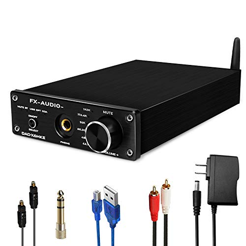 FX AUDIO 192kHz Digital to Analog Audio Converter with Bluetooth 5.0 Receiver, Optical Coaxial PC-USB Bluetooth Input to RCA 6.35mm Headphone Amplifier, DAC-X6MKII DAC Converter (Black)