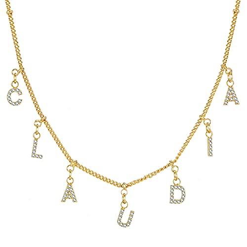 KONZFP Collar Collar Personalizado con Nombre de Oro con números de Letras, Collares de Cobre Personalizados para Mujeres y niñas, Gargantilla con Colgante de Fuente
