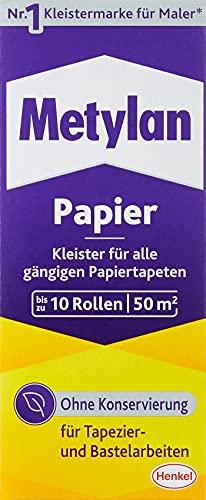 Metylan Papier, starker Tapetenkleister für leichte, normale und schwere Papiertapete, Kleister zum Tapezieren und Basteln ohne Konservierungsmittel, 1x125g