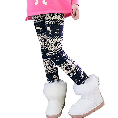 Toddler Kids Girls Pants Winter Thick Fleece Lined Christmas Leggings Tights (Yellow Reindeer,3T)