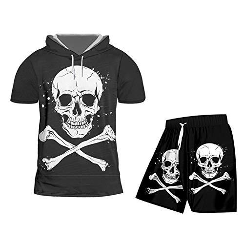 Pantalones Cortos de Tanque Negro Trajes para Hombre Imprimir Esqueleto Hueso 3D Summer Sport Tacksuit 2 Pieza Set Hiphop Streetwear HTSH02210 4XL
