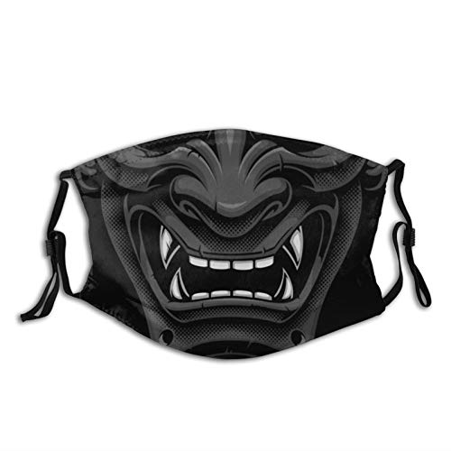 Black Samurai Oni Face Mask,Washable & Adjustable Fashion Unisex Bandana With 2 Pcs Filters