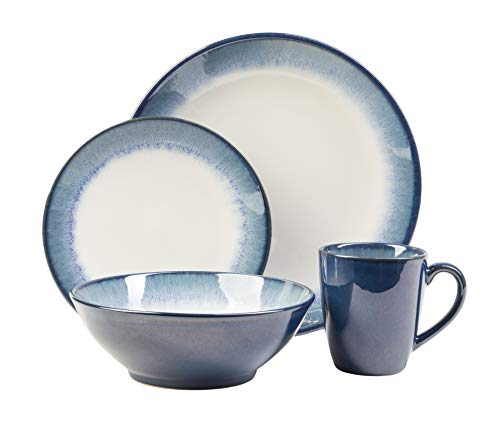 Sango's Novelle Dusk Blue Dinnerware Set, 16-Pieces with 4 Place Settings, Ceramic