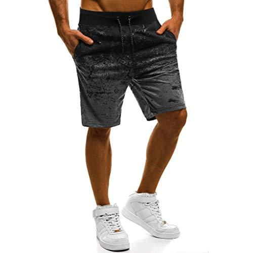 beautyjourney Shorts Deportivos para Hombres Pantalones Cortos de Entrenamiento gradiente Pantalones Cortos de Fitness de Verano con Basculador Shorts Holgados de Surf en la Playa