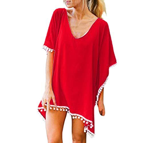 │BEACUP│Women's Pom Pom Trim Kaftan Chiffon Swim Bikini Beach Cover Up Tassels Beachwear Swimwear Swimsuit Sarong(Red,One)