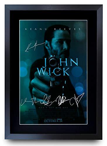 HWC Trading John Wick The Cast Keanu Reeves Ian McShane Poster mit Autogramm, gerahmt, A3