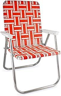 Lawn Chair USA Aluminum Webbed Chair (Deluxe, Orange and White with White Arms)