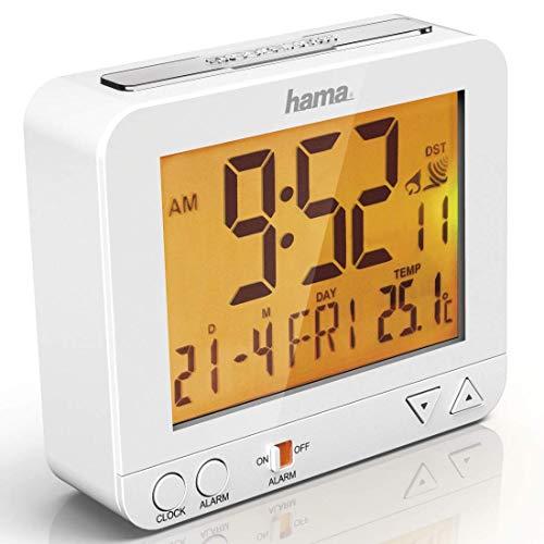 Hama Funk-Wecker Digital RC550 (Funkuhr mit Nachlicht, Digitalwecker mit Temperatur- und Datumsanzeige, inkl. Batterie) weiß