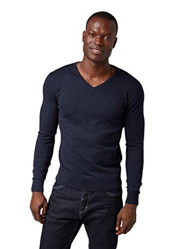 TOM TAILOR Herren Basic V-Neck Pullover, Blau (Navy Eclipse 6298), Large