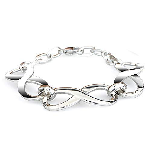 LDUDU Donna Braccialetto Simbolo d'Amore Infinito acciaio inox antiallergico Donna Bracciale Colore argento 19.5 cm-Regalo di compleanno per San Valentino