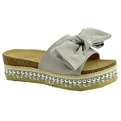 CucuFashion - Sandalias planas para mujer, diseño de arco, color Gris, talla 39 EU