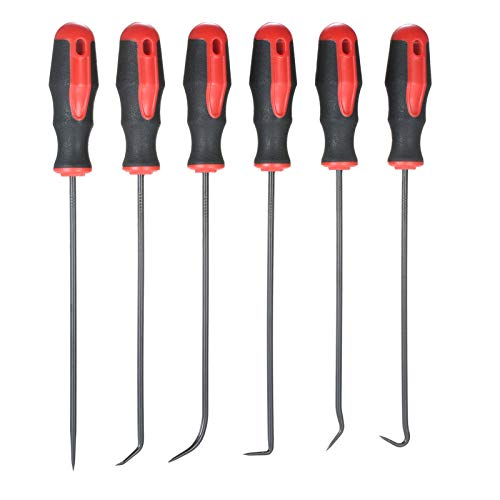Hylotele O-Ring-Pick-Set - 6-Teiliges 9-Zoll-Haken- und Pick-Set O-Ring/Dichtung/Dichtung Picks Splintabzieher Splintschlüssel Abzieher Bildschirm Fensterhaken für Kfz-Elektronik-Handwerker