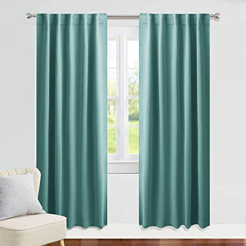 PONY DANCE Curtains Blackout Long - 42 x 84 Inches Sea Teal...
