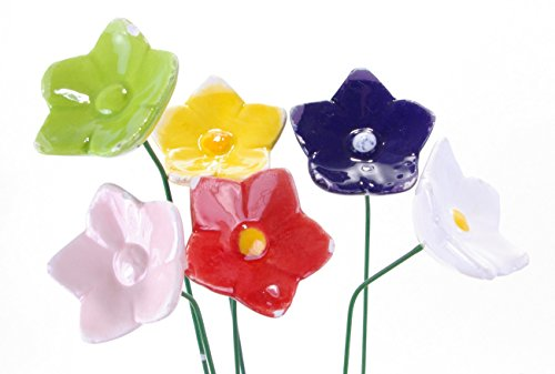 Exner dekorative fröhlich bunte Mini-Blütenpicks Mini Blumen-Stecker in 6 Farben sortiert