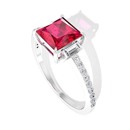 Anillo de compromiso con diamantes de rubí de 1,74 quilates, con piedra natal de julio, anillo de compromiso de oro de 14 quilates, Metal, Ruby Diamond,