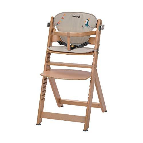 Safety 1st Timba con cojin, Trona de madera evolutiva, Trona para bebes con bandeja extraible, Silla de altura regulable crece con el nino 6 meses - 10 anos, color Natural