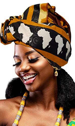 Novarena Long Kente Ankara African Print Headwraps for Women Hair Tie Scarf Turbans Dashiki Head wraps (Ankara fabric #7)