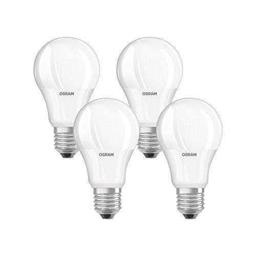Osram lampadina a forma di base Classic lampada a LED, plastica, bianco caldo, E27, 9W, set di 4