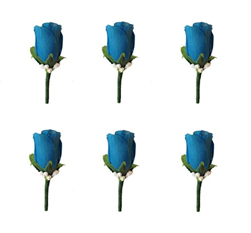 Angel Isabella Set of 6 Deep Blue Turquoise Rose Boutonniere with Pin for Prom, Party, Wedding