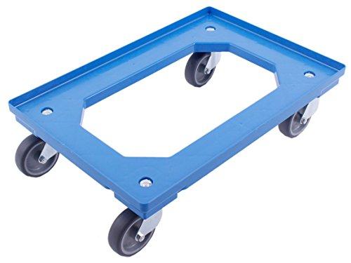 PLATAFORMA CON RUEDAS 60x40, carro para cajas Euro, carro con 4 ruedas giratorias, adecuado para cajas plegables de 60x40 cm y 40x30 cm, azul