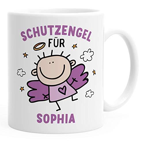 Kunststoff Kinder-Tasse Schutzengel mit Namen personalisierte Namenstasse für Mädchen Geschenk Glücksbringer SpecialMe® weiß-lila Kunstoff-Tasse