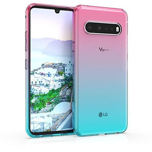 kwmobile Hülle kompatibel mit LG V60 ThinQ - Hülle Handy - Handyhülle Zwei Farben Pink Blau Transparent
