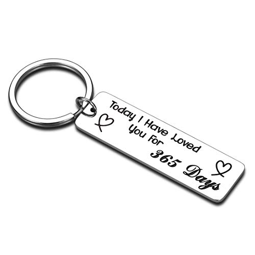 1 Year Anniversary Keychain Gifts for Boyfriend Girlfriend Valentine Day Gifts for Him Her Couple Birthday Present for Husband Wife Hubby 1st Wedding Anniversary Keyring Men Women Fiance Fiancee