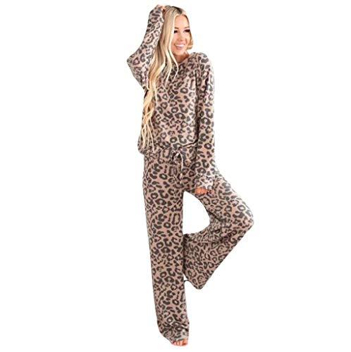 Schlafanzug Damen Lang Zweiteilige Winter Pyjama Set Leopard Drucken Sleepwear Lang Hose Nachtwäsche Outfits Langarm Rundhals Leopardmuster Casual Einfarbige Pyjs Lose Weich Loungewear