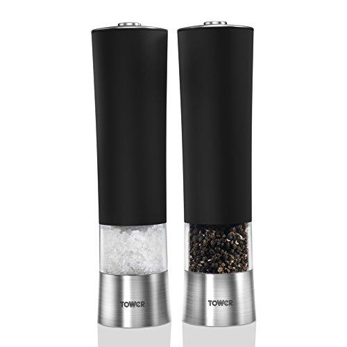 Tower Easy 1-Touch - Juego de 2 molinillos eléctricos de Sal y Pimienta, LED, Color Negro y Plateado